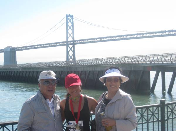 With Grandparents after the race