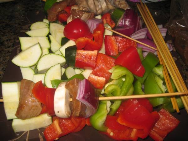Skewering the meat and veggies