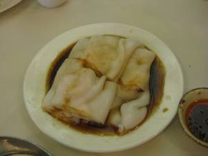 I have no idea what this is called in English, but this is my favorite dish. It has shrimp wrapped in the sticky noodle layer and covered in a mixture of soy sauce and sesame oil