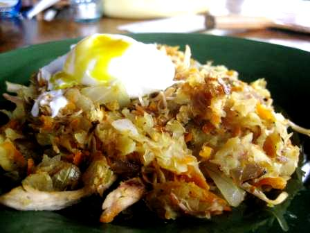 Sweet potato hash with turkey and poached egg